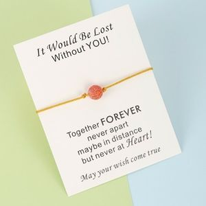 Jewelry - Red Stone Ball Charm Yellow Rope Bracelet & Card